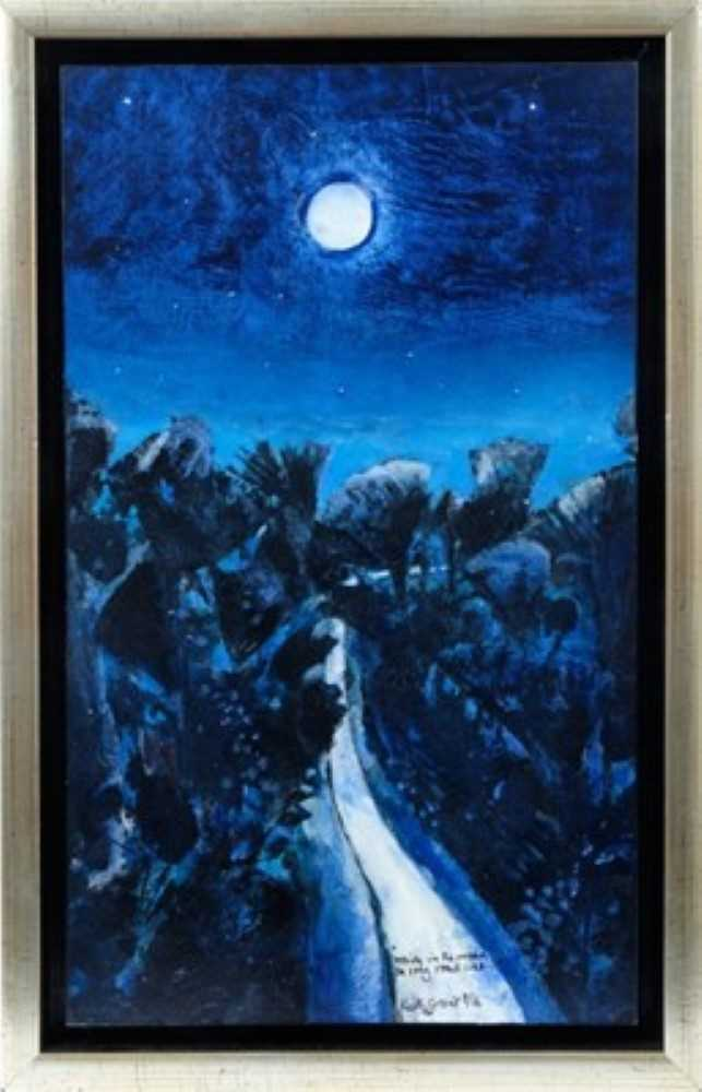 """Lot 1721 - *Keith Grant (b.1930) acrylic, watercolour, ink and varnish on board – """"White in the moon the long roads lies..."""""""
