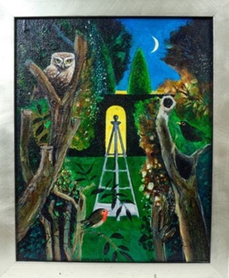 Lot 1719 - *Keith Grant (b.1930) acrylic on board - The Sentinel of the Secret Garden, Selborne II, signed and dated 6/2017, framed, 29cm x 23.5cm  Provenance: Chris Beetles Ltd. London