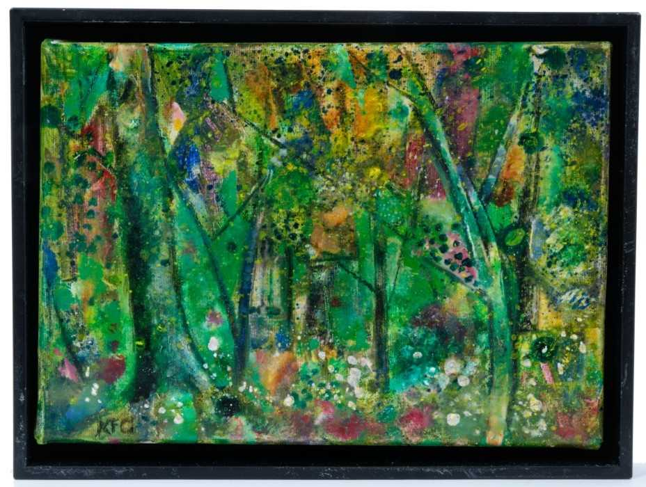 Lot 1715 - *Keith Grant (b.1930) oil on linen - The Garden in Spring, Grez-sur-Loing, initialled, signed, dated Mar.2020 and titled verso, framed, 16cm x 22cm  Provenance: Chris Beetles Ltd. London