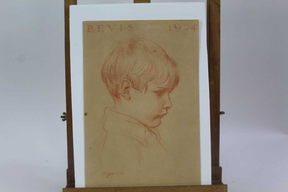 Lot 1862 - Henry Matthew Brock, RI, (1875-1960) pastel on tinted paper - portrait of a young boy, Bevis 1924, signed and inscribed, unframed, 32cm x 21cm  Provenance: Chris Beetles Ltd. London