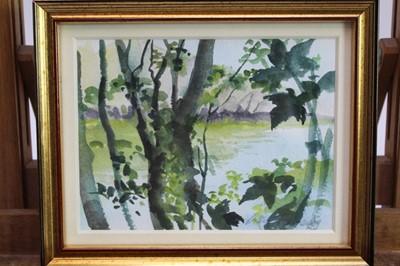 Lot 1808 - Lesley Fotherby (b.1946) watercolour - Shady Trees, signed, in glazed gilt frame, 12cm x 16cm  Provenance: Chris Beetles Ltd. London