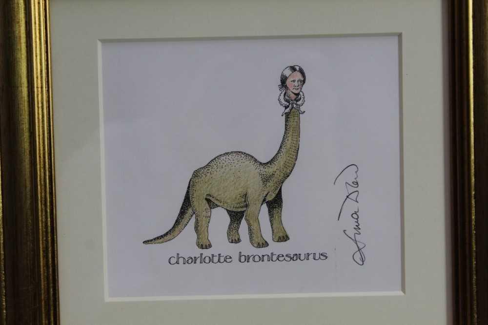 Lot 1757 - Simon Drew (b.1952) pen, ink and coloured pencil - Charlotte Brontesaurus, signed, in glazed gilt frame, 13cm x 15cm  Provenance: Chris Beetles Ltd. London