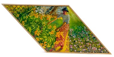 Lot 1728 - *Anthony Green (b.1939) oil on shaped board - Orange Lilies, Mary and Japanese Anemones, signed, inscribed and dated 2015 verso, 19cm x 43cm overall  Provenance: Chris Beetles Ltd. London