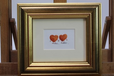 Lot 1745 - Rebecca Cobb (b.1982) coloured pencil and watercolour – Gingerbread Valentines, initialled, in glazed gilt frame, 4.5cm x 7cm  Provenance: Chris Beetles Ltd. London