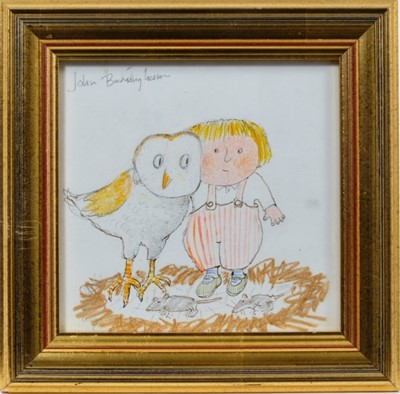 Lot 1874 - John Burningham (1936-2019) pen, ink, watercolour and crayon illustration – To Hoot With Owls Is Really Fun..., signed, in glazed gilt frame, 16cm square  Provenance: Chris Beetles Ltd. London