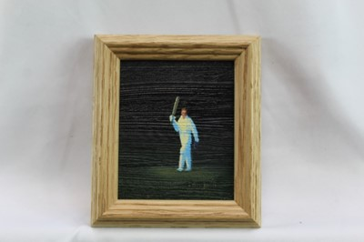 Lot 1750 - *Jack Russell (b.1963) oil on canvas - 'Well Played', signed, inscribed and dated 2018 verso, framed, 9cm x 8cm  Provenance: Chris Beetles Ltd. London