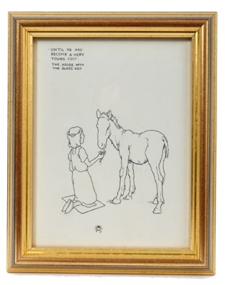 Lot 1827 - William Heath Robinson (1872-1944) pen and ink illustration - 'Until he had become a very young colt', inscribed, in glazed gilt frame, 17cm x 13cm  Provenance: Chris Beetles Ltd. London