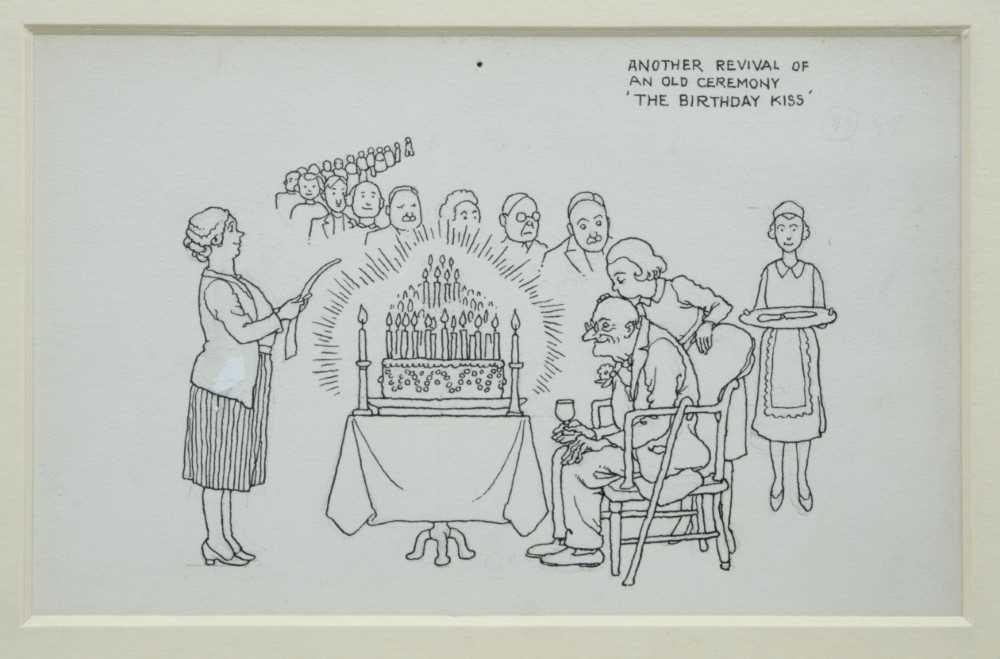 Lot 1826 - William Heath Robinson (1872-1944) pen and ink illustration - The Birthday Kiss, inscribed, in glazed gilt frame, 11.5cm x 18cm  Provenance: Chris Beetles Ltd. London