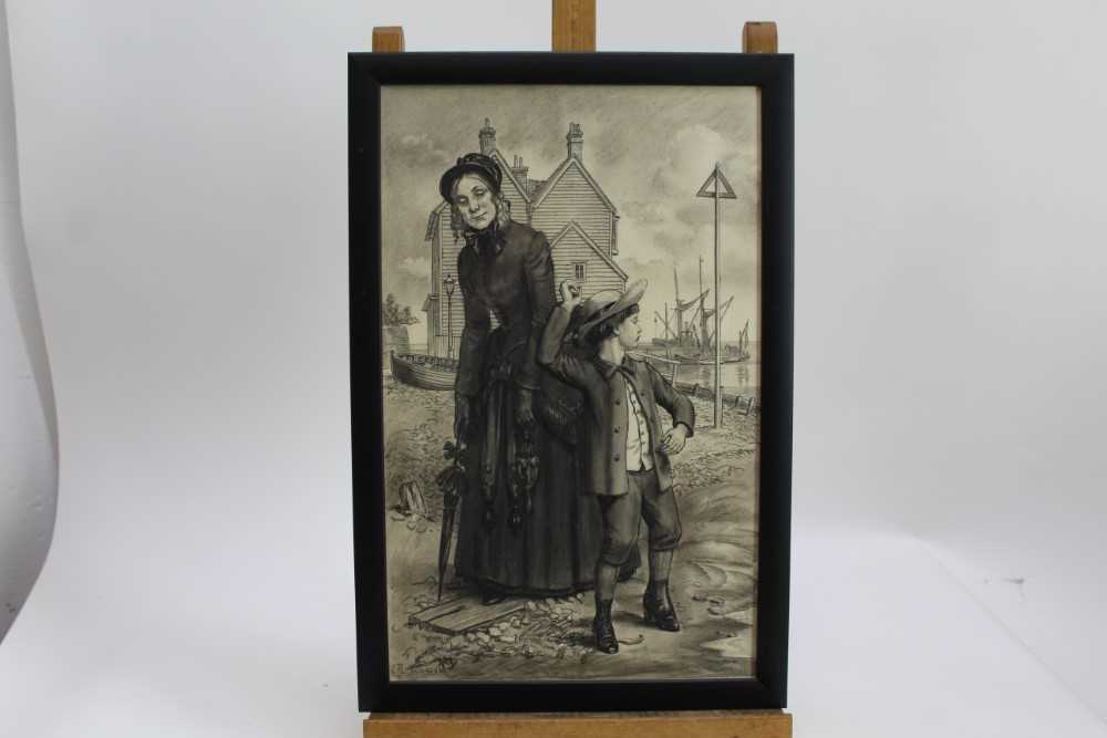 Lot 1889 - Randolph Schwabe (1885-1948) pen, ink and chalk - 'They came to a smallbeach...with a view of the sea', signed, in glazed frame, 42.5cm x 26.5cm  Provenance: Chris Beetles Ltd. London