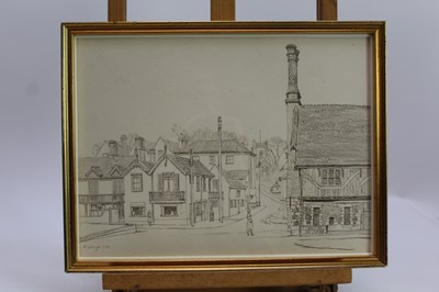 Lot 1888 - Randolph Schwabe (1885-1948) pen and ink - Crabbe Street and the Moot Hall, Aldeburgh, 1932, in glazed frame, 27cm x 37cm  Provenance: Chris Beetles Ltd. London
