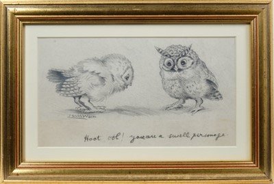 """Lot 1813 - Louis Wain (1860-1939) pencil drawing - """"Hoot Ooh! You are a swell Personage"""", signed, inscribed, in glazed gilt frame, 16.5cm x 30cm  Provenance: Chris Beetles Ltd. London"""