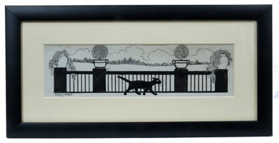 Lot 1815 - Louis Wain (1860-1939) pen and ink - Prowling on the Terrace, signed, in glazed frame, 8cm x 28cm  Provenance: Chris Beetles Ltd. London