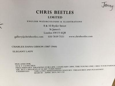 Lot 1768 - Charles Dana Gibson (1867-1944) pen and ink - Elegant Lady, in glazed gilt frame, 25cm x 13.5cm   Provenance: Chris Beetles Ltd. London