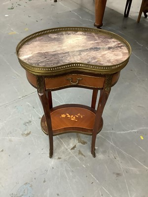 Lot 853 - French kidney shape two tier table with brass galleried marble top, drawer and floral marquetry inlaid undertier