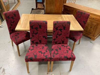 Lot 876 - Contemporary light oak square drawleaf  table together with four matching chairs with fuscia upholstery