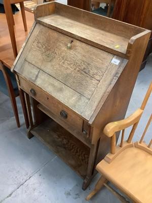 Lot 880 - Oak escritoire, mahogany coffee table, folding stool and a mahogany framed cheval mirror (4)