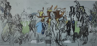 Lot 34 - Feliks Topolski (1907-1989) - signed limited edition colour lithograph - Eton v Harrow, Cricket at Lords, 1983, signed and numbered 53/300