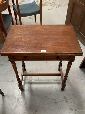 Lot 883 - Oak card table with folding top and single drawer
