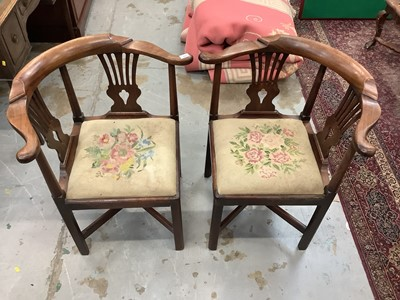 Lot 884 - Pair of 19th century mahogany corner chairs with tapestry seats