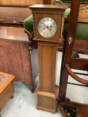 Lot 886 - Grandmother clock in oak case with chiming movement