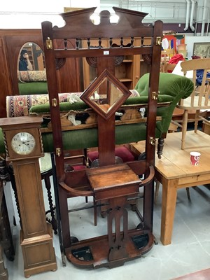 Lot 905 - Edwardian Oak hallstand with central mirror and two metal drip trays