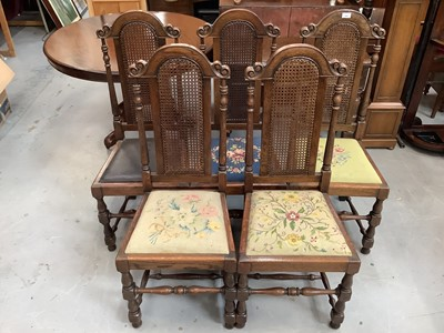 Lot 888 - Set of five oak dining chairs with caned arched backs, four with tapestry seats