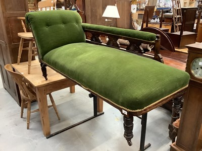 Lot 890 - Late Victorian chaise longue with green velvet upholstery