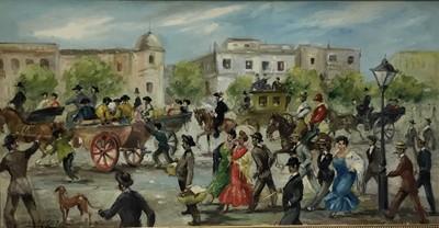 Lot 35 - José Puente (1928-2002) - oil on canvas - Street procession