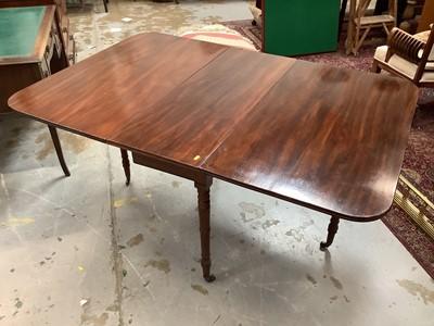 Lot 906 - 19th century mahogany drop leaf gate leg dining table