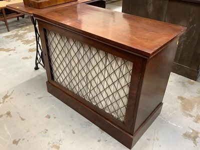 Lot 908 - Regency style rosewood cupboard enclosed by a single door with brass grille