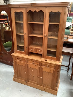 Lot 895 - Pine two height kitchen dresser, pine square kitchen table with two drawers and two kitchen chairs (4)