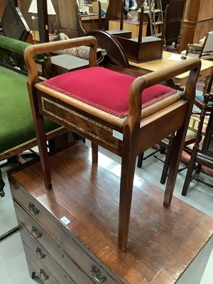 Lot 894 - Edwardian piano stool, another low stool with velvet top, antique commode, walnut occasional table and an oak occasional table (5)