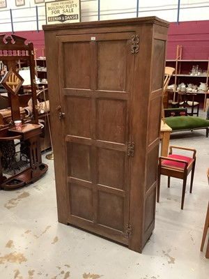 Lot 896 - Antique oak hall cupboard/wardrobe, all four sides panelled