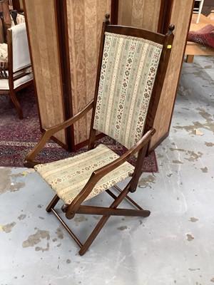Lot 911 - Edwardian folding steamer chair, a bridge table, Victorian mahogany toilet mirror and a Victorian balloon back chair