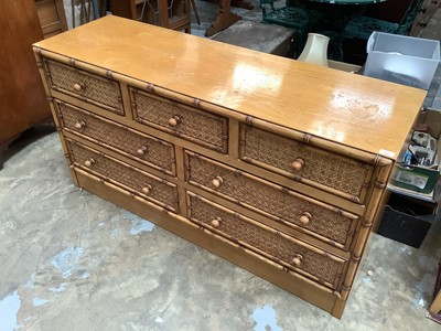 Lot 922 - Contemporary ash chest with an arrangement of seven drawers, the fronts inset with wicker panels surrounded by faux bamboo mouldings