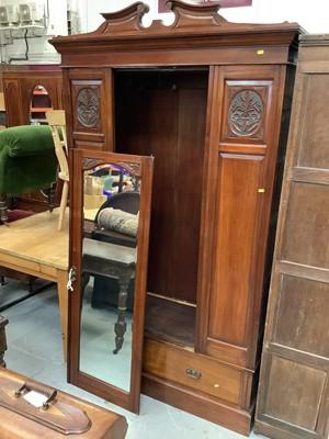 Lot 909 - Edwardian walnut wardrobe and matching dressing chest