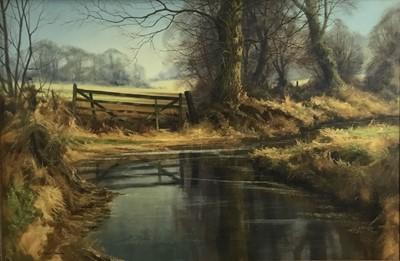 Lot 55 - Christopher Osborne, oil on canvas - Winding Brook, signed, in gilt frame