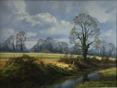 Lot 54 - Christopher Osborne oil on canvas - March Landscape, signed, in gilt frame