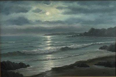 Lot 56 - Collier, 20th century, oil on canvas - Moonrise, Cornwall, signed, in gilt frame
