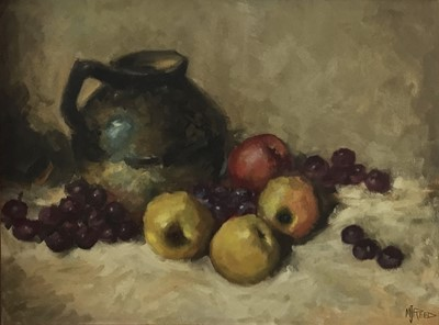 Lot 59 - M. J. Reed, Canadian School, 20th century, oil on board - still life of fruit and a jug, signed, framed