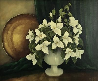 "Lot 58 - Magdalene Vahl, Canadian School, 20th century,  oil on canvas - still life entitled ""Trillium"", signed, in gilt frame"