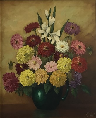 Lot 60 - Magdalene Vahl, Canadian School, 20th century, oil on canvas - still life entitled Zinnias and Marigolds, signed, in gilt frame