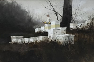 Lot 41 - Ronald Lewis (American) watercolour painting of a beekeeper