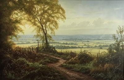 Lot 57 - Christopher Osborne oil on canvas - Downland Evening, signed, in scroll frame