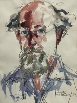 Lot 44 - Peter Collins (1923-2001) pencil and watercolour self portrait