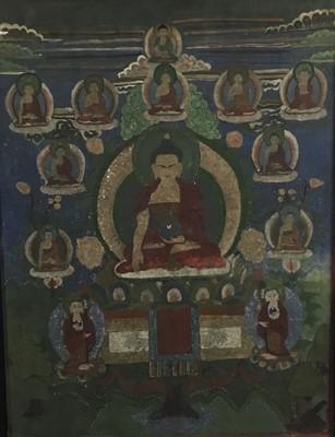 Lot 52 - Two 19th century Tibetan paintings on fabric panels