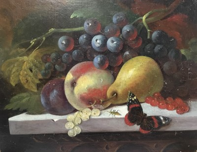 Lot 78 - Manner of George Lance (1802-1864) oil on panel - still life of fruit and insects, unframed