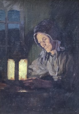 Lot 80 - Frederick Marriott (1860-1941) oil on board -  seated figure by lamp light entitled Evening, together with a watercolour by the same hand (2)