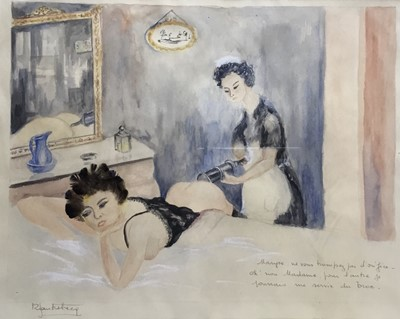 Lot 46 - Mid 20th century French School watercolour - a maid and mistress with an enema, indistinctly signed and inscribed, in glazed frame