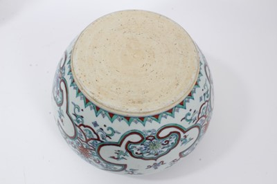 Lot 59 - 20th century Chinese porcelain jardinière decorated in the Doucai style with foliate patterns
